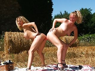 Farmer's Daughter-in-law Loves Strap On Dildo And Handball