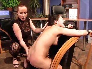 Lezzie Domination Cougar Abases Her Restrained Sub