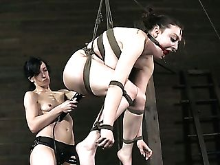 Tied Up Hoe With Big Natural Funbags Gets Tantalized By A Skinny Brown-haired Mistress