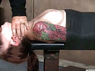 Crimson Haired Whore Anna De Ville Is Fucked In Her Mouth Slot With Ample Belt Dick