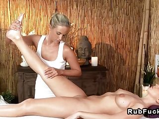 Blonde Masseuse Fingeres Bald Cunt In Rubdown Room