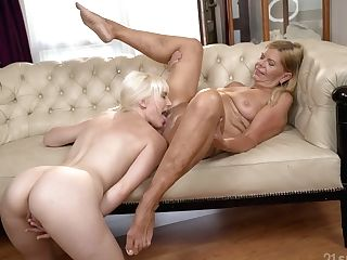 Old Lezzy Is Playing And Gobbling Cunt Of Yummy Ash-blonde Female Samantha