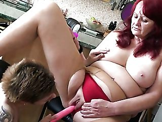 Horny Matures Ginger-haired Gets Her Heinous Twat Masturbated By Tattooed Lesbo