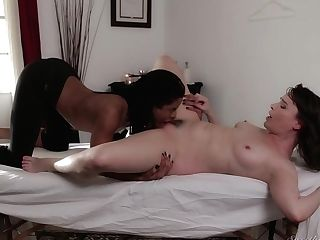 Brown-haired Cocoa Gets Screwed Bimbo By Fuck Thirsty Man In Interracial Act