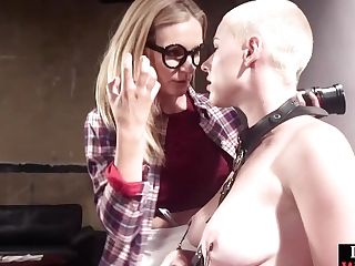 Bald Blonde Honey With Big Tits Gets Frigged And Assfuck Fuck